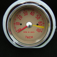 Custom Tach - beige - red letter